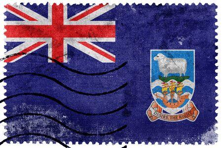 postage: Flag of Falkland Islands, old postage stamp Stock Photo