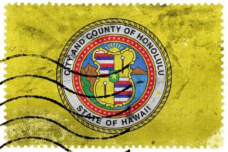 honolulu: Flag of Honolulu, Hawaii, old postage stamp