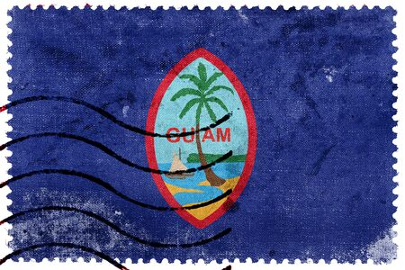 unincorporated: Flag of Guam, old postage stamp Stock Photo