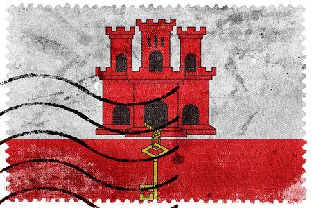 postage stamp: Flag of Gibraltar, old postage stamp