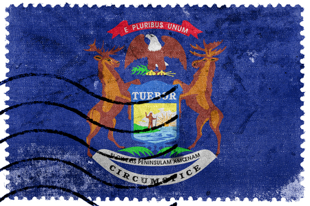 michigan flag: Flag of Michigan State, old postage stamp Stock Photo