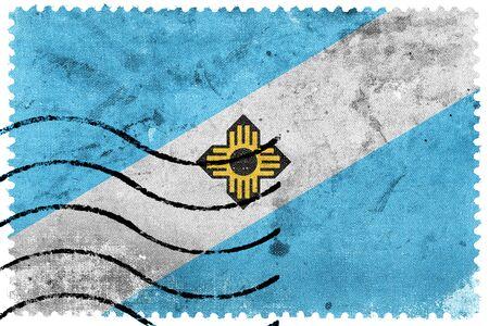 madison: Flag of Madison, Wisconsin, old postage stamp Stock Photo