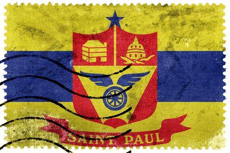 saint paul: Flag of Saint Paul, Minnesota, old postage stamp Stock Photo