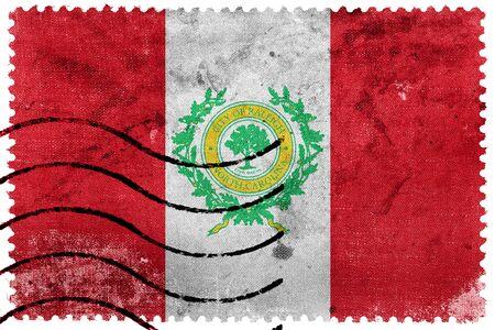 postage: Flag of Raleigh, North Carolina, old postage stamp