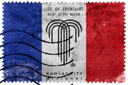 postage: Flag of Kansas City, Missouri, old postage stamp
