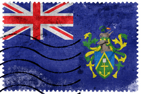 pitcairn: Flag of Pitcairn Islands, old postage stamp Stock Photo