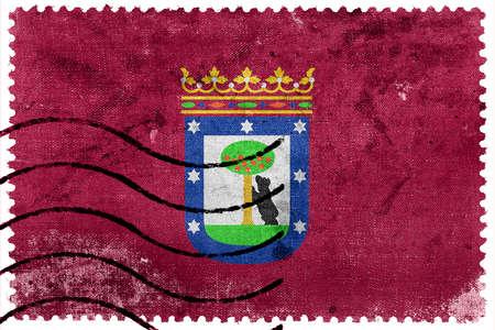 postage stamp: Flag of Madrid, old postage stamp