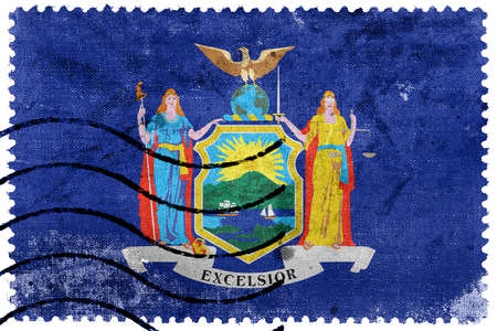 old new york: Flag of New York State, old postage stamp