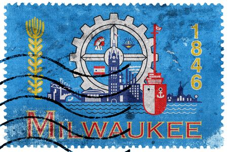 wisconsin flag: Flag of Milwaukee, Wisconsin, old postage stamp