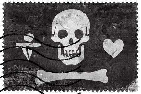 bonnet: Stede Bonnet Pirate Flag, old postage stamp Stock Photo