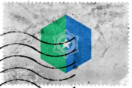 postage: Flag of Sapporo, Japan, old postage stamp