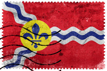 st louis: Flag of St. Louis, Missouri, old postage stamp