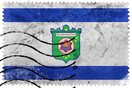 postage: Flag of Tel Aviv, old postage stamp Stock Photo