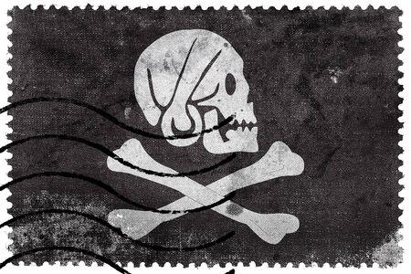 postage stamp: Henry cada bandera de pirata, franqueo antiguo sello Foto de archivo