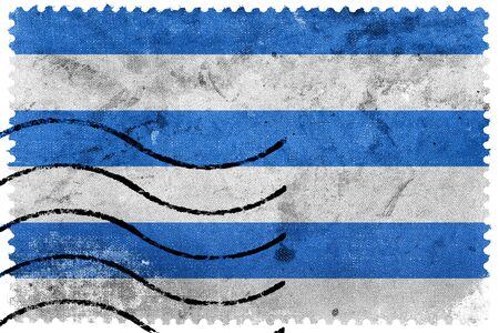 sello postal: Bandera de Tallin, franqueo antiguo sello Foto de archivo