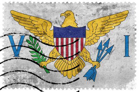 virgin islands: Flag of the U.S. Virgin Islands, old postage stamp Stock Photo