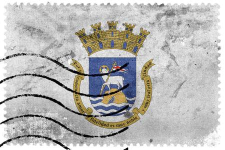 bandera de puerto rico: Bandera de San Juan, Puerto Rico, antiguo sello de correos Foto de archivo