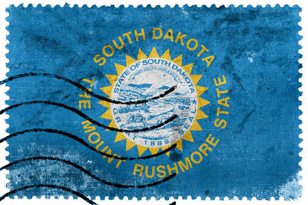 south dakota: Flag of South Dakota State, old postage stamp Stock Photo