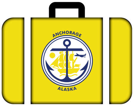 anchorage: Flag of Anchorage, Alaska. Suitcase icon, travel and transportation concept