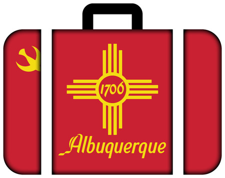 customs official: Flag of Albuquerque, New Mexico. Suitcase icon, travel and transportation concept Stock Photo