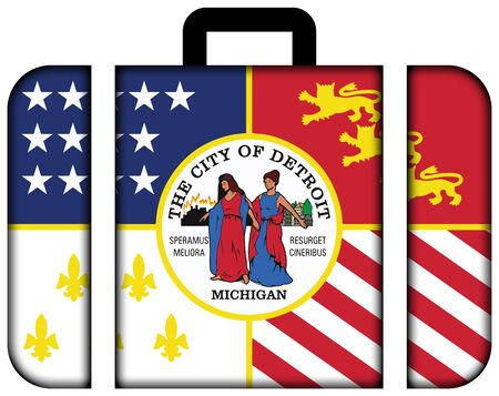 michigan flag: Flag of Detroit, Michigan. Suitcase icon, travel and transportation concept