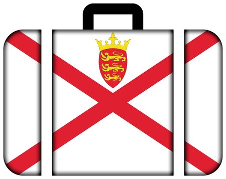 Flag of Jersey. Suitcase icon, travel and transportation concept