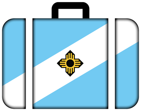 wisconsin flag: Flag of Madison, Wisconsin. Suitcase icon, travel and transportation concept Stock Photo
