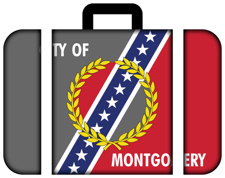 montgomery: Flag of Montgomery, Alabama. Suitcase icon, travel and transportation concept