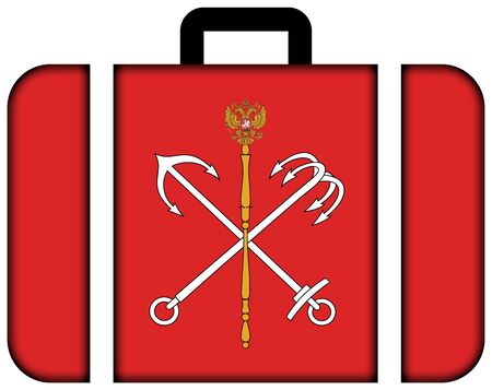 customs official: Flag of Saint Petersburg. Suitcase icon, travel and transportation concept
