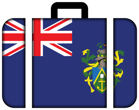 pitcairn: Flag of Pitcairn Islands. Suitcase icon, travel and transportation concept Stock Photo
