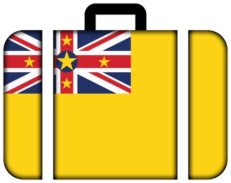 niue: Flag of Niue. Suitcase icon, travel and transportation concept