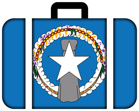 mariana: Flag of Northern Mariana Islands. Suitcase icon, travel and transportation concept