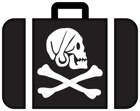 every: Henry Every Pirate Flag. Suitcase icon, travel and transportation concept