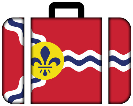 st louis: Flag of St. Louis, Missouri. Suitcase icon, travel and transportation concept
