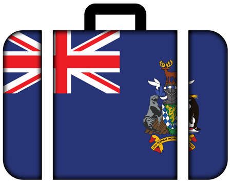 south georgia: Flag of South Georgia and the South Sandwich Islands. Suitcase icon, travel and transportation concept