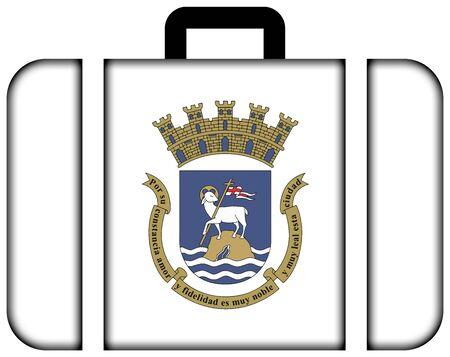 bandera de puerto rico: Bandera de San Juan, Puerto Rico. icono de la maleta, los viajes y el concepto de transporte Foto de archivo