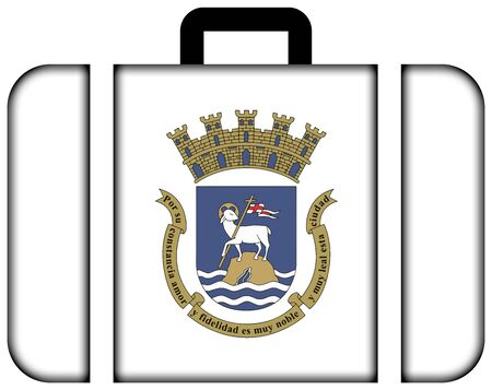 unincorporated: Flag of San Juan, Puerto Rico. Suitcase icon, travel and transportation concept