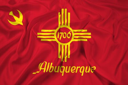albuquerque: Waving Flag of Albuquerque, New Mexico Stock Photo