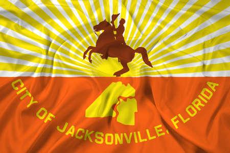 education policy: Waving Flag of Jacksonville, Florida Stock Photo