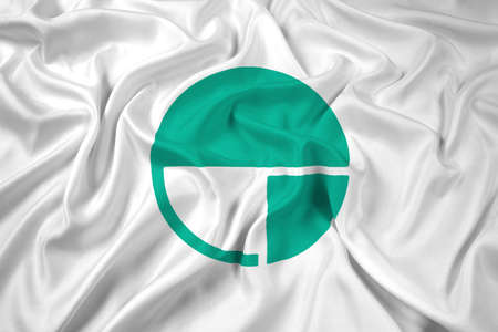 far east: Waving Flag of Nagano, Japan Stock Photo