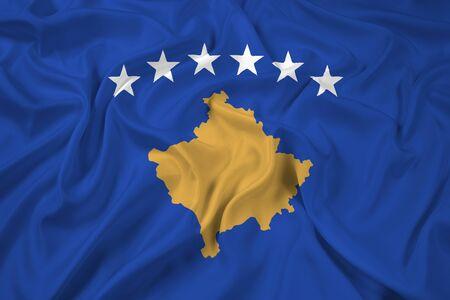 kosovo: Waving Flag of Kosovo Stock Photo