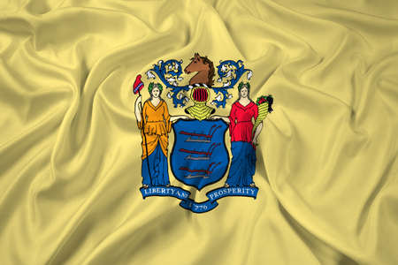 new jersey: Waving Flag of New Jersey State