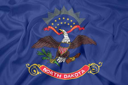 north dakota: Waving Flag of North Dakota State Stock Photo