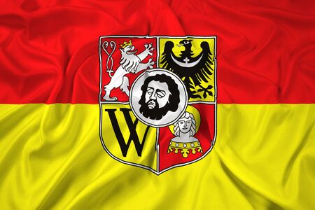 wroclaw: Waving Flag of Wroclaw with Coat of Arms, Poland Stock Photo