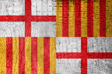 catalonia: Flag of Barcelona, on a luxurious, fashionable canvas