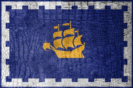 quebec: Flag of Quebec City, on a luxurious, fashionable canvas