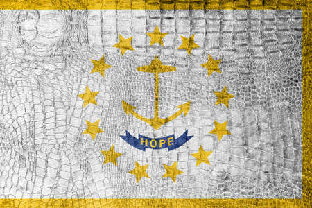 new england: Flag of Rhode Island, on a luxurious, fashionable canvas Stock Photo