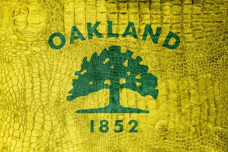 oakland: Flag of Oakland, California, on a luxurious, fashionable canvas