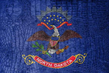 north dakota: Flag of North Dakota State, on a luxurious, fashionable canvas Stock Photo