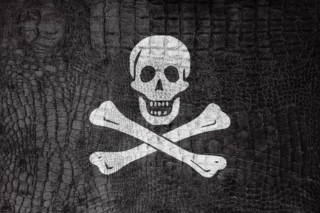piracy: The traditional Jolly Roger of piracy Flag, on a luxurious, fashionable canvas Stock Photo